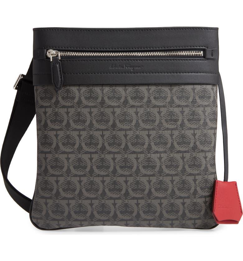 SALVATORE FERRAGAMO Embossed Travel Bag, Main, color, BLACK