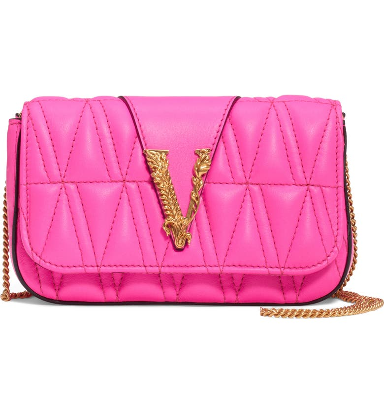 VERSACE FIRST LINE V Matelassé Leather Crossbody Bag, Main, color, ABSOLUTE FUXIA/ TRIBUTE GOLD