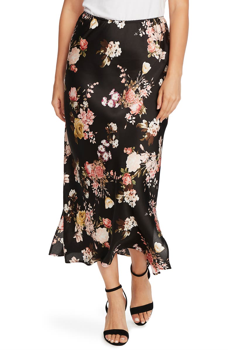 VINCE CAMUTO Beautiful Blooms Midi Skirt, Main, color, RICH BLACK