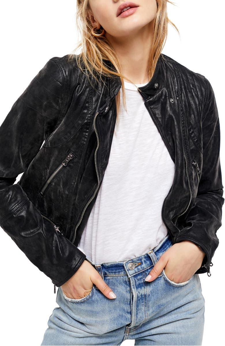 FREE PEOPLE Fenix Faux Leather Moto Jacket, Main, color, BLACK