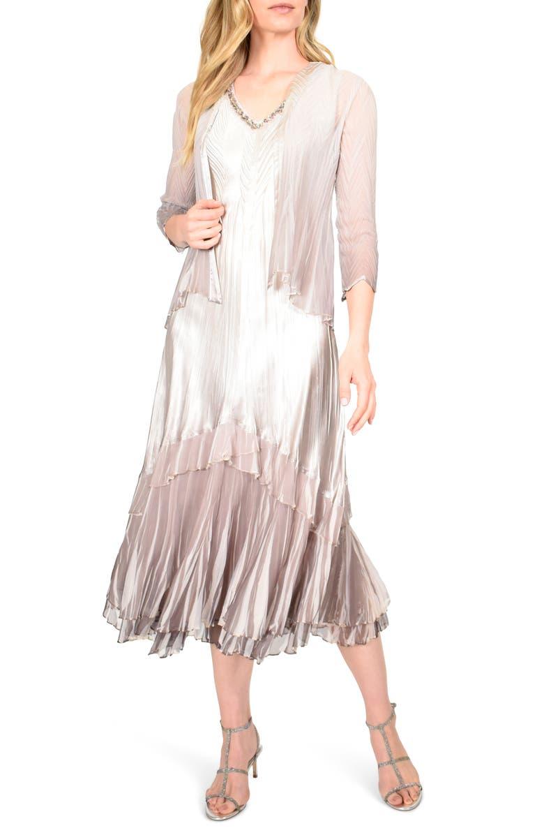 KOMAROV Floral Charmeuse & Chiffon Jacket Dress, Main, color, BEACH CAFE OMBRE