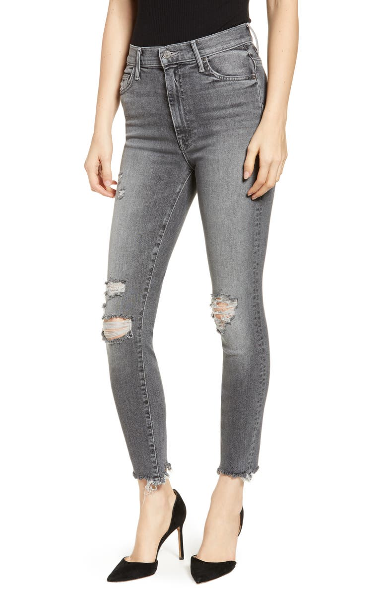 MOTHER The Swooner Chew Hem Ripped Ankle Skinny Jeans, Main, color, 011
