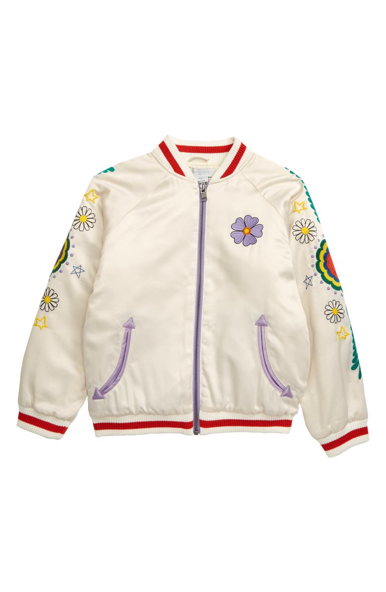 STELLA MCCARTNEY KIDS Stella McCartney Embroidered Bomber Jacket, Main, color, IVORY