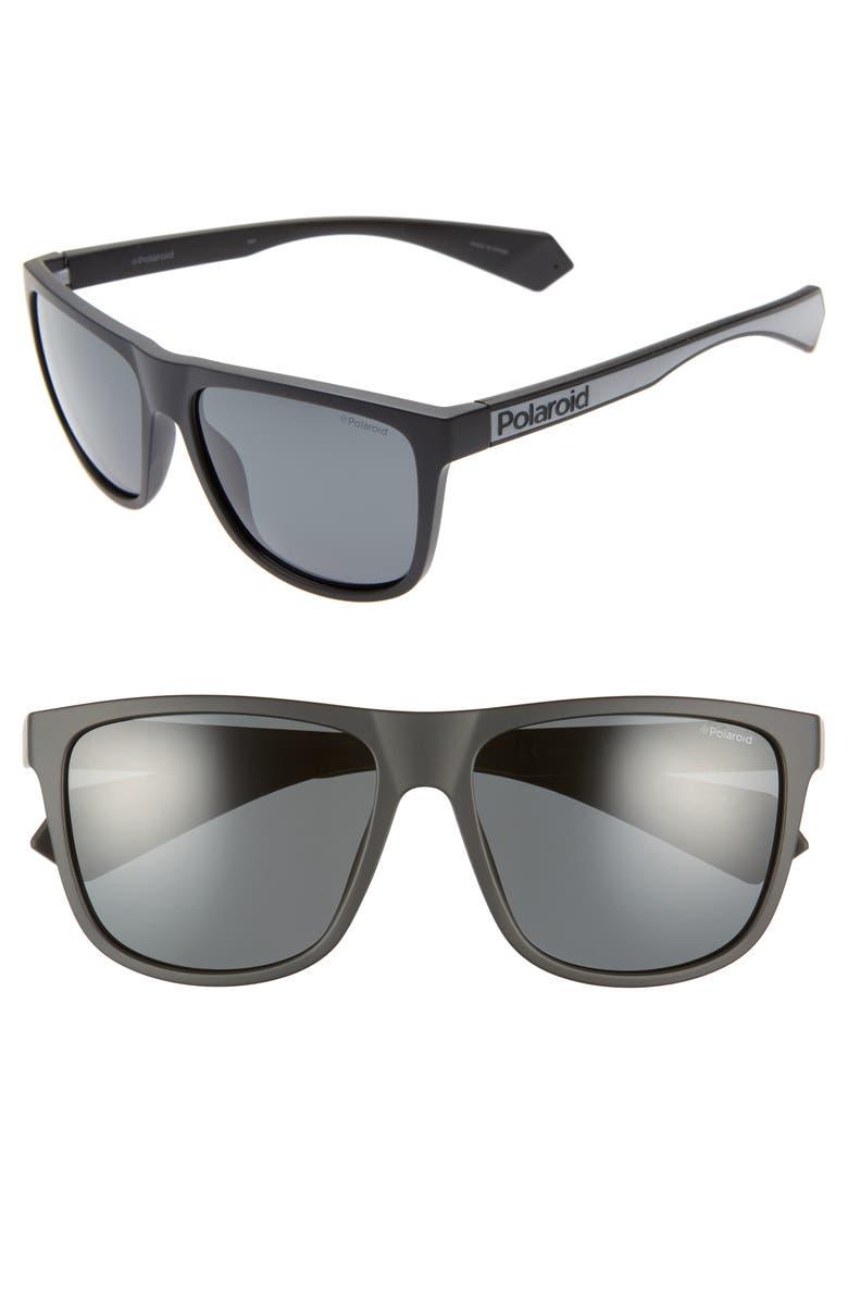 POLAROID Plastic Core 57mm Polarized Sunglasses, Main, color, 001