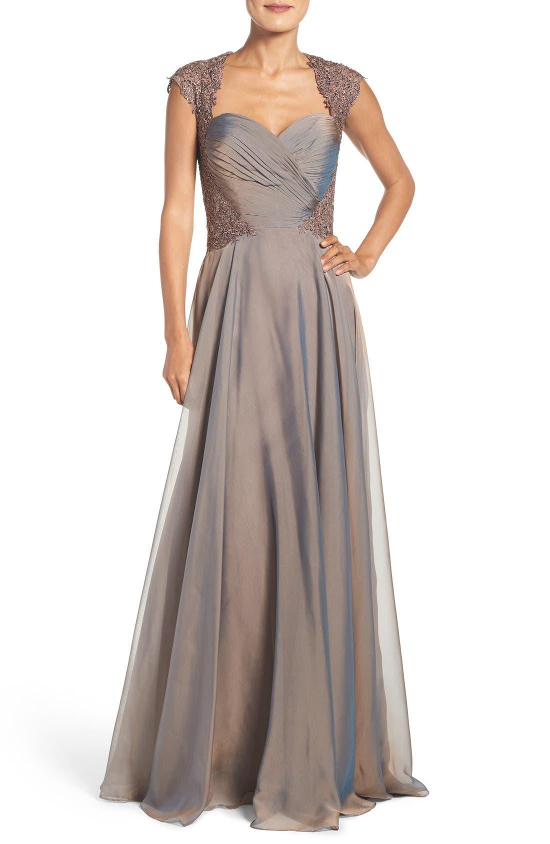 La Femme Ruched Chiffon Gown