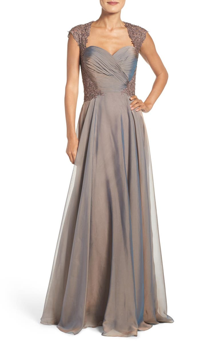 LA FEMME Ruched Chiffon Gown, Main, color, COCOA