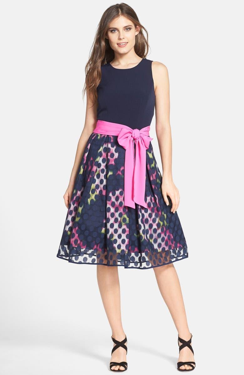 ELIZA J Print Faille & Mesh Midi Dress with Sash, Main, color, 410