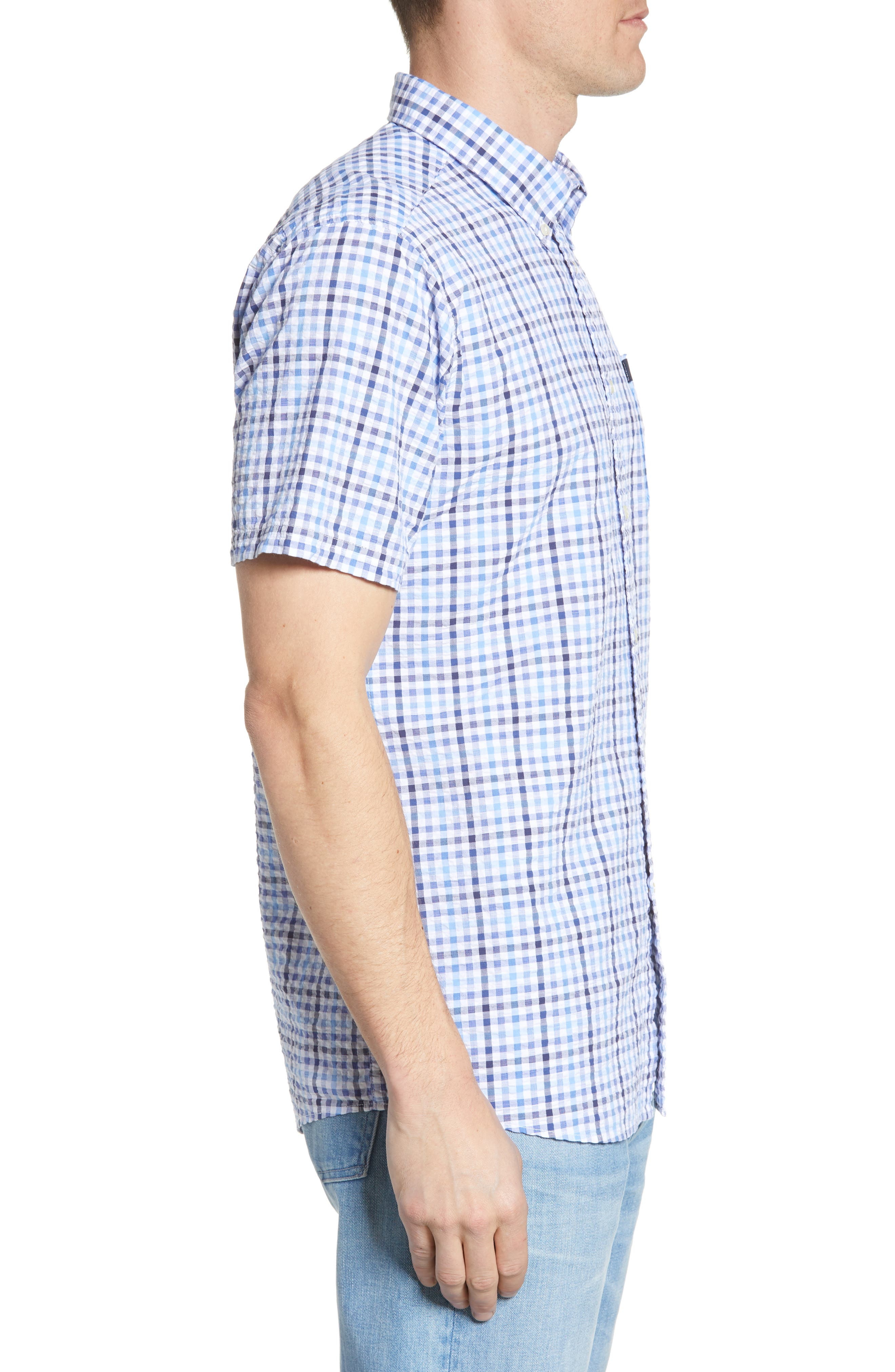 ,                             Tailored Fit Check Seersucker Woven Shirt,                             Alternate thumbnail 4, color,                             NAVY