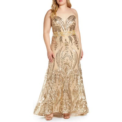 Plus Size MAC Duggal Sequin Strapless Sweetheart Neck Evening Gown, Yellow