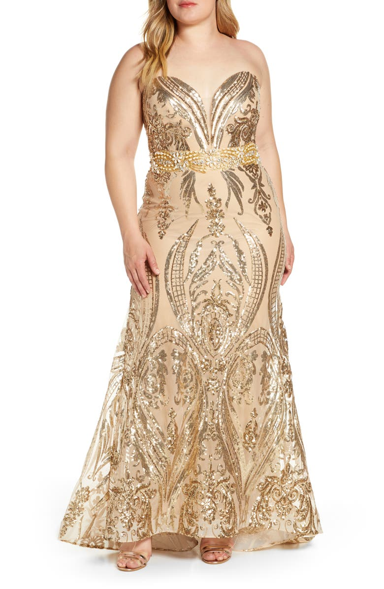 MAC DUGGAL Sequin Strapless Sweetheart Neck Evening Gown, Main, color, GOLD