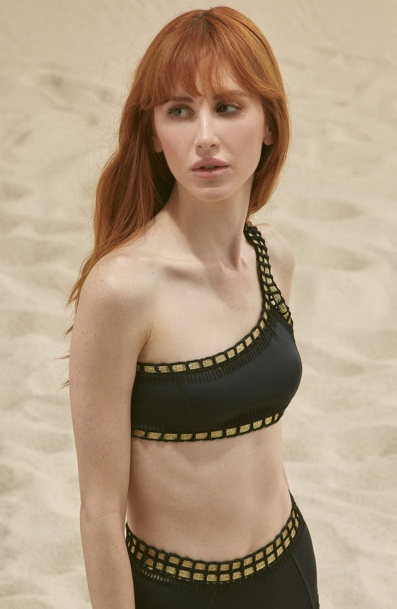 KIINI 'ChaCha' One-Shoulder Bikini Top, Main, color, 001