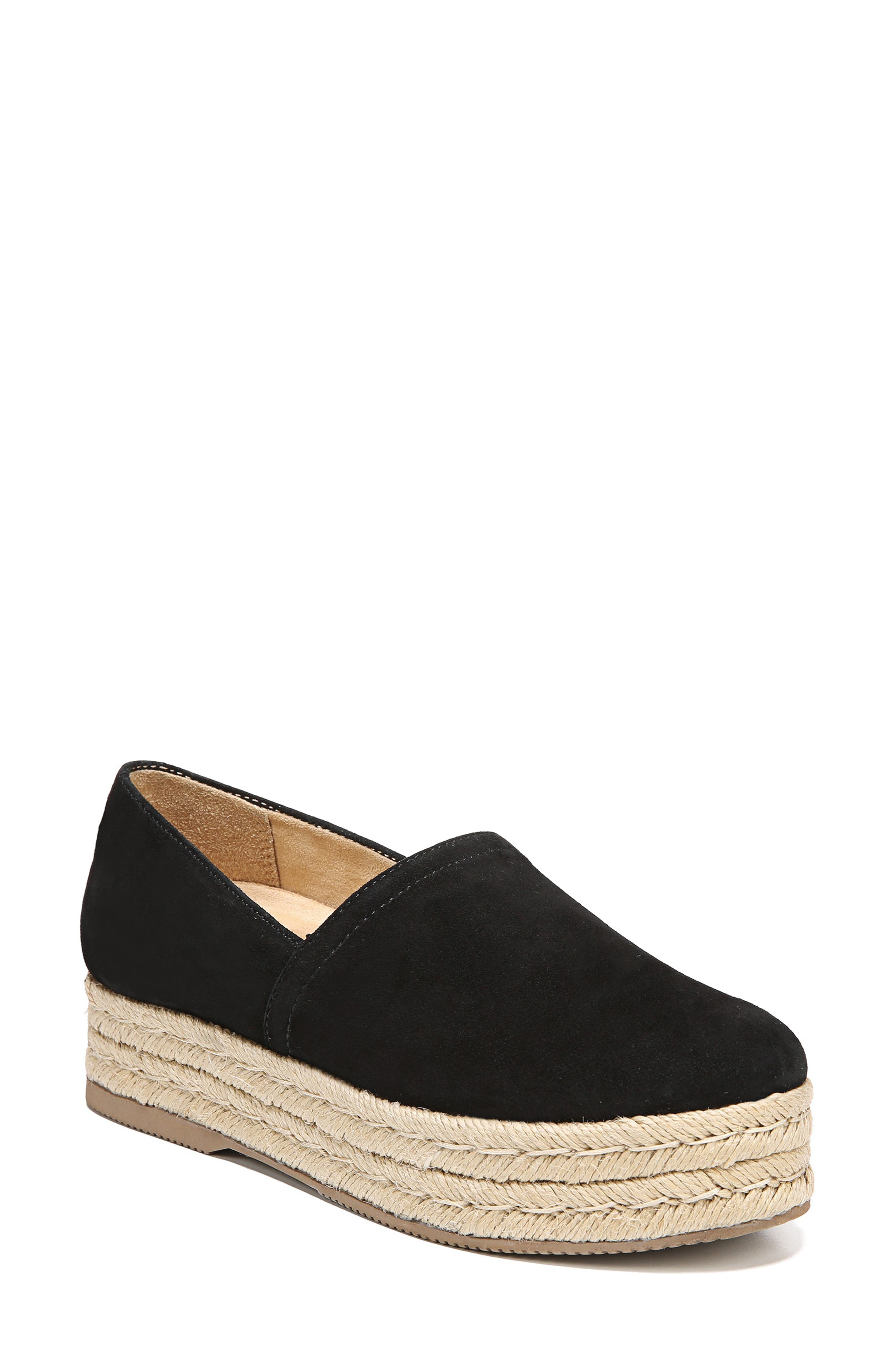,                             Thea III Espadrille Slip-On,                             Main thumbnail 1, color,                             BLACK SUEDE/ LEATHER