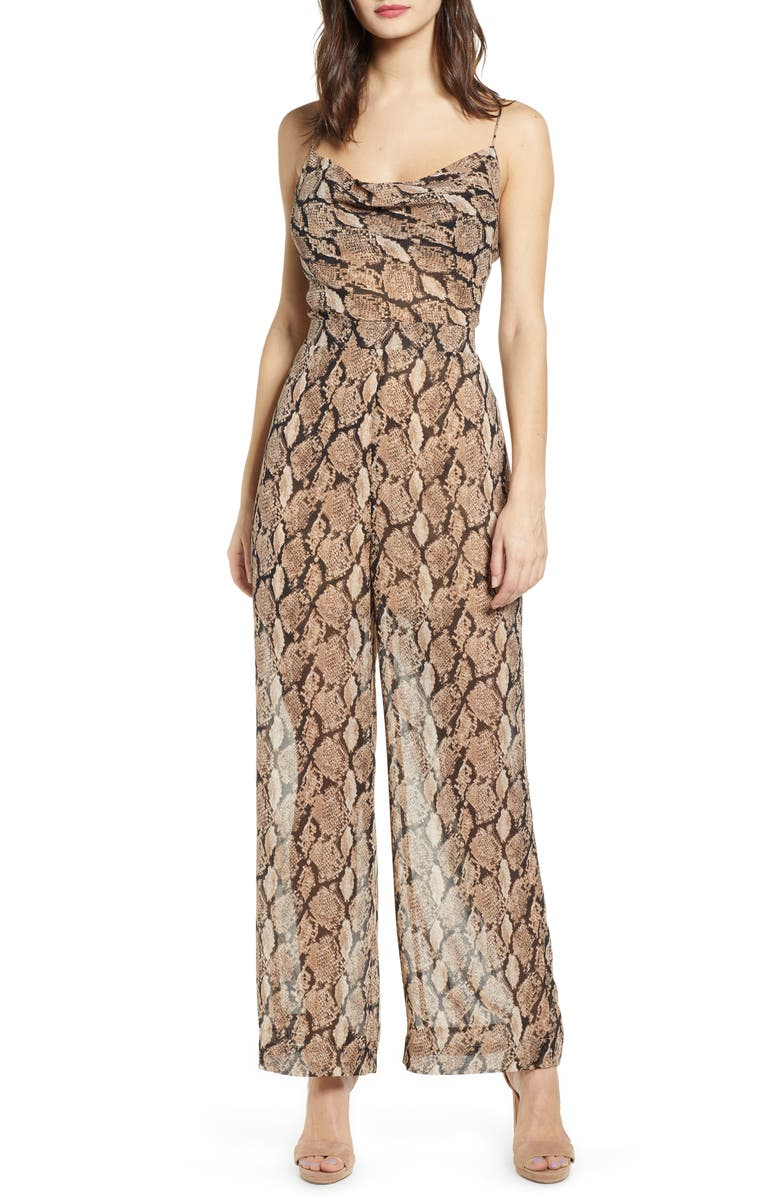 J.O.A. Python Print Tie Back Jumpsuit, Main, color, TAUPE MULTI