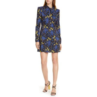 Self-Portrait Floral Long Sleeve Jersey Crepe Minidress, Blue