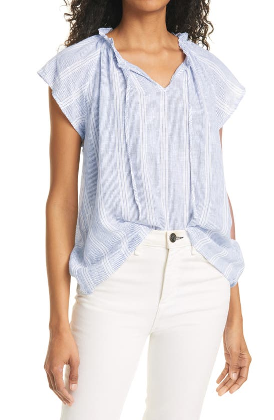 Rails Raven Short Sleeve Linen Blend Peasant Blouse In Alameda Stripe