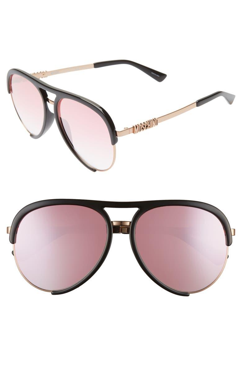 MOSCHINO 58mm Aviator Sunglasses, Main, color, BLACK/ GOLD