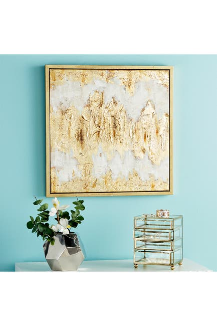 Image of CosmoLiving by Cosmopolitan Square Metallic Gold Leaf Contemporary Abstract Framed Painting