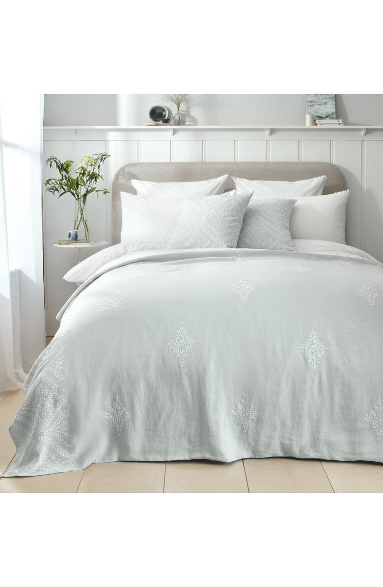 THE WHITE COMPANY Clermont Embroidered Linen Throw Blanket, Main, color, 100