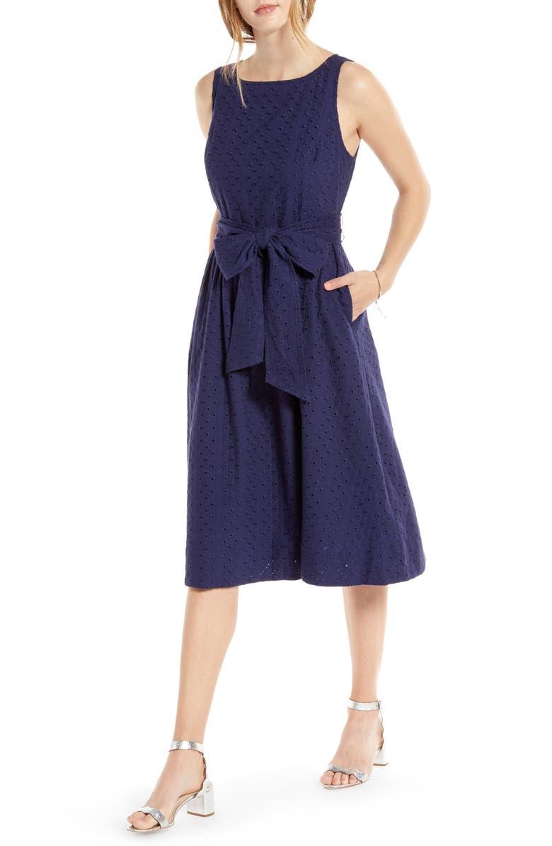 1901 Tie Waist Sleeveless Cotton Eyelet Dress, Main, color, 410