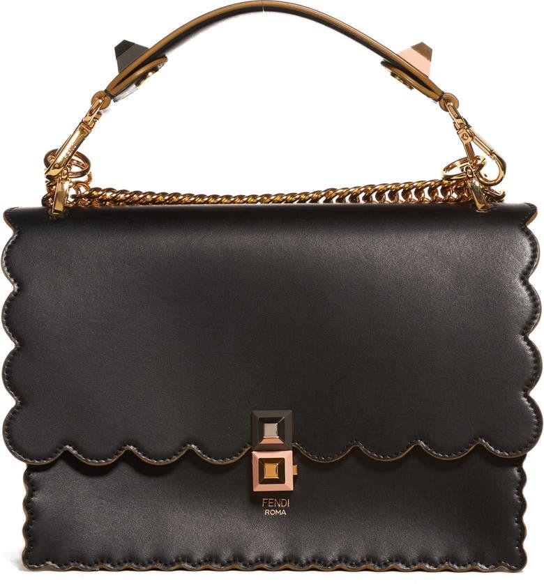 FENDI Kan I Scallop Leather Shoulder Bag, Main, color, BLACK