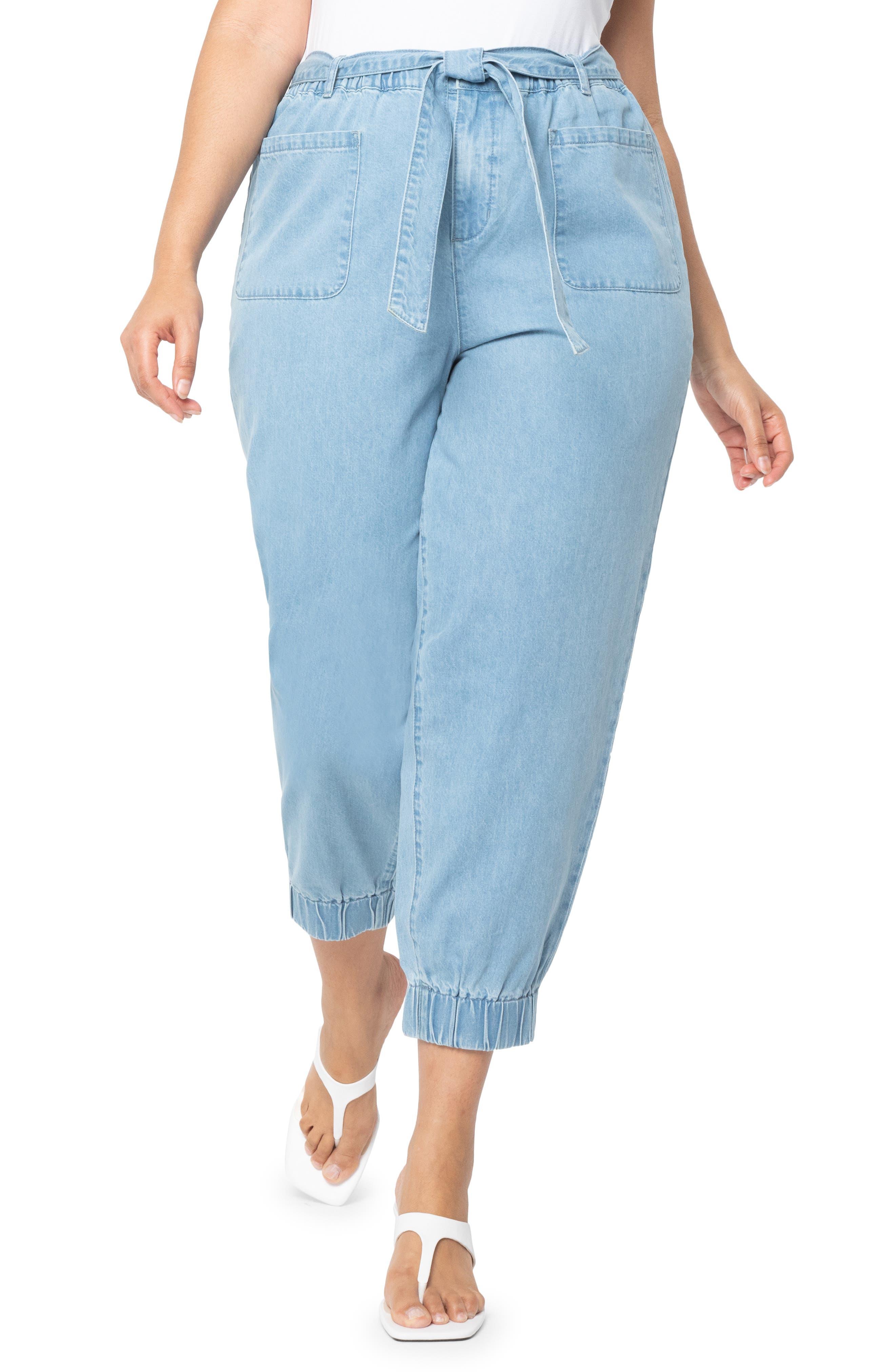 Tie Waist Crop Jogger Jeans