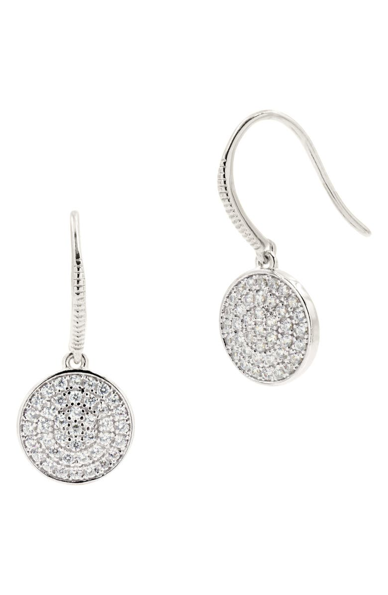 FREIDA ROTHMAN Radiance Pavé Disc Drop Earrings, Main, color, SILVER