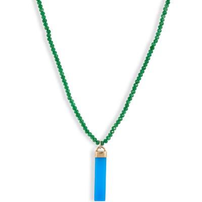 Loren Stewart Moderna Blue Agate Paleta Pendant Necklace