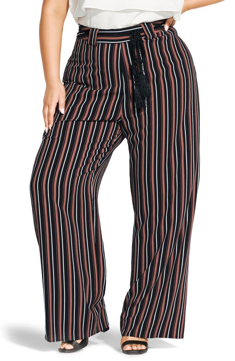 CITY CHIC Natural Stripe Wide Leg Pants, Main, color, NUTMEG STRIPE