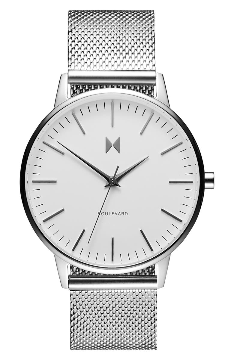 MVMT Boulevard Mesh Strap Watch, 38mm, Main, color, SILVER/ WHITE/ SILVER