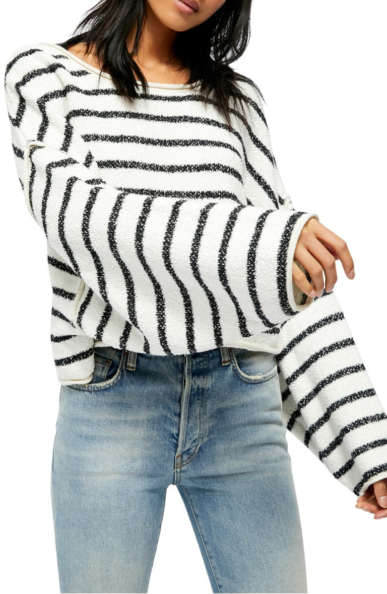 FREE PEOPLE Bardot Sweater, Main, color, BLACK AND WHITE COMBO