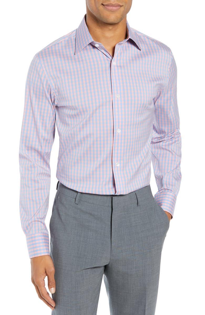 BONOBOS Slim Fit Stretch Check Dress Shirt, Main, color, PEONY CORAL