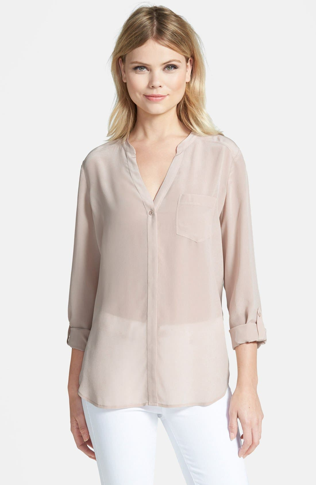 ,                             Collarless Silk Blouse,                             Main thumbnail 31, color,                             250