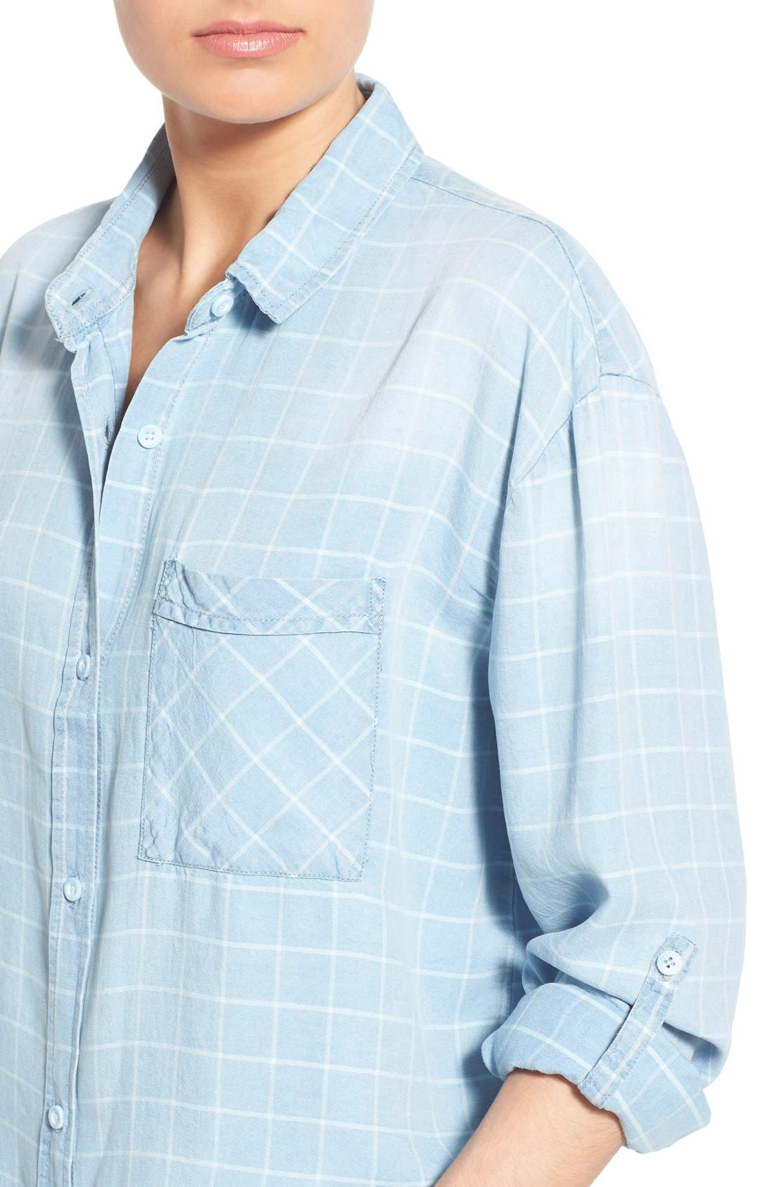 ,                             'Frankie' Check Chambray Button Front Shirt,                             Alternate thumbnail 3, color,                             400