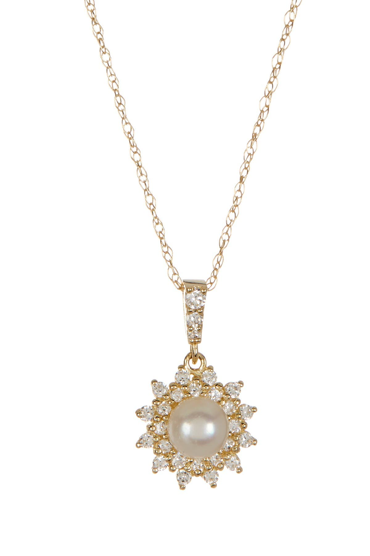 Image of Candela 10K Yellow Gold Petite CZ & 4mm Cultured Freshwater Pearl Necklace