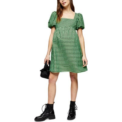 Topshop Gingham Maternity Minidress, US (fits like 10-12) - Green