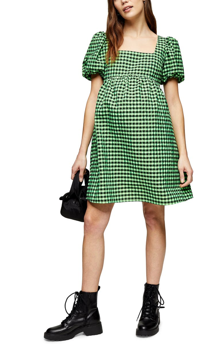TOPSHOP Gingham Maternity Minidress, Main, color, 300