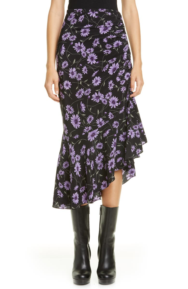 MICHAEL KORS COLLECTION Michael Kors Floral Gathered Asymmetrical Silk Skirt, Main, color, DAHLIA MULTI
