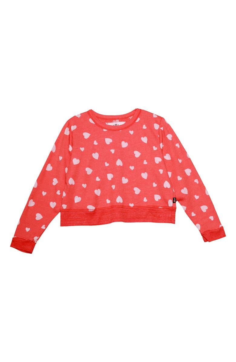 T2 LOVE Heart Print Sweatshirt, Main, color, V. RED