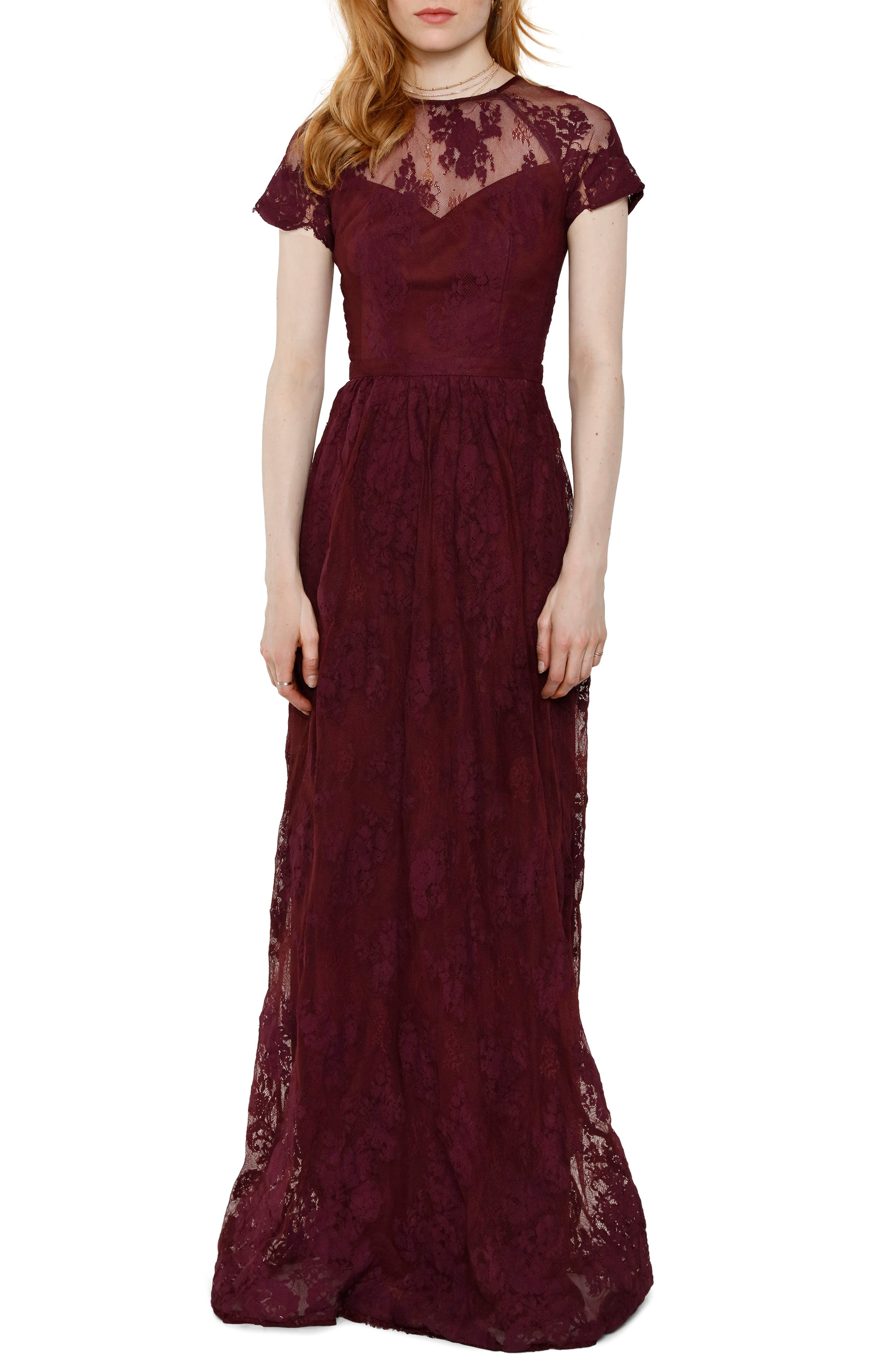 Heartloom Josie Lace Gown, Burgundy