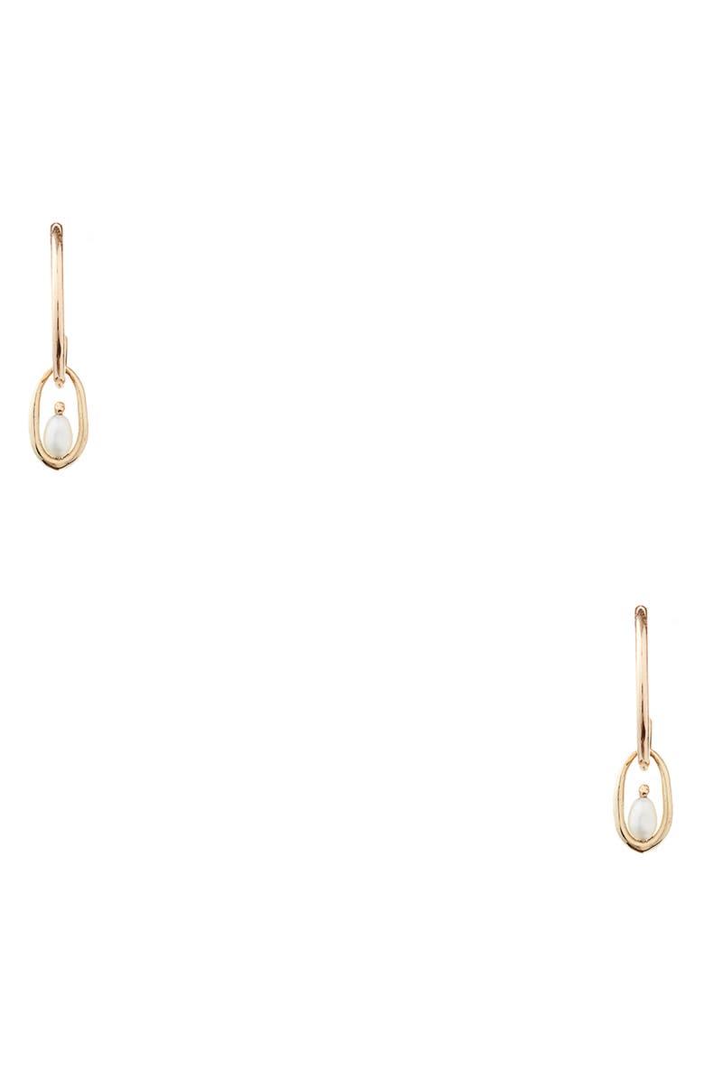 WWAKE Pearl Droplet Earrings, Main, color, YELLOW GOLD/ PEARL