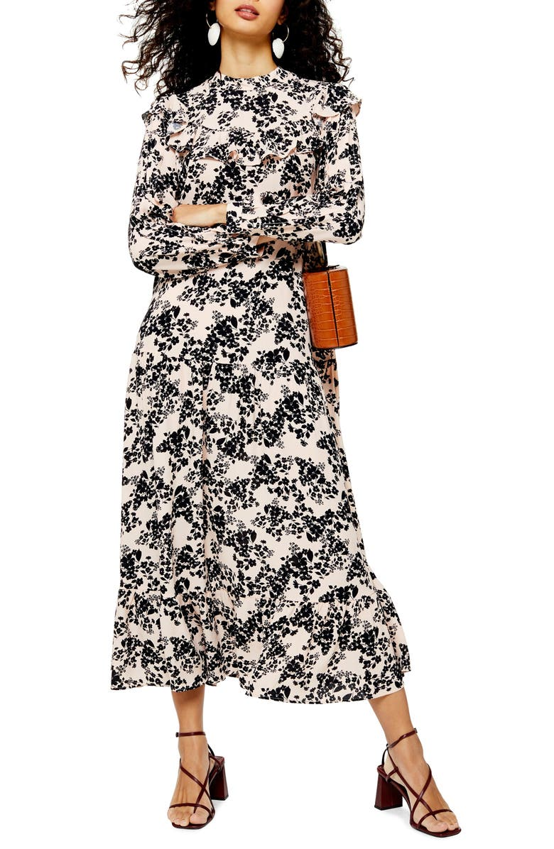 TOPSHOP Floral Print Long Sleeve Prairie Dress, Main, color, BLUSH MULTI