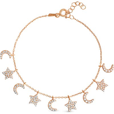 Lesa Michele Crescent Moon & Star Charm Bracelet