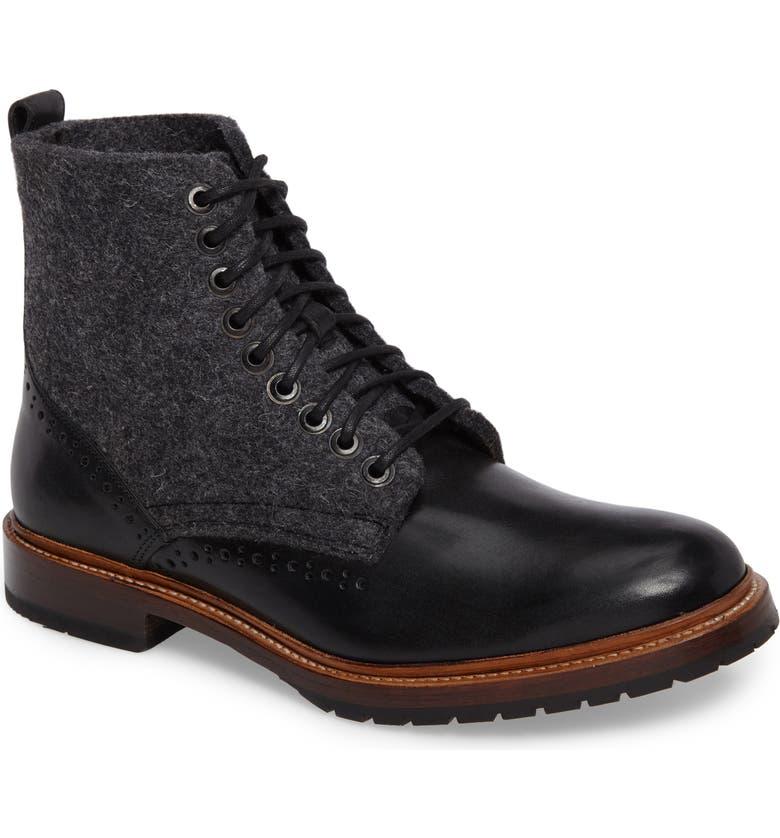 STACY ADAMS Madison II Felt Shaft Boot, Main, color, BLACK
