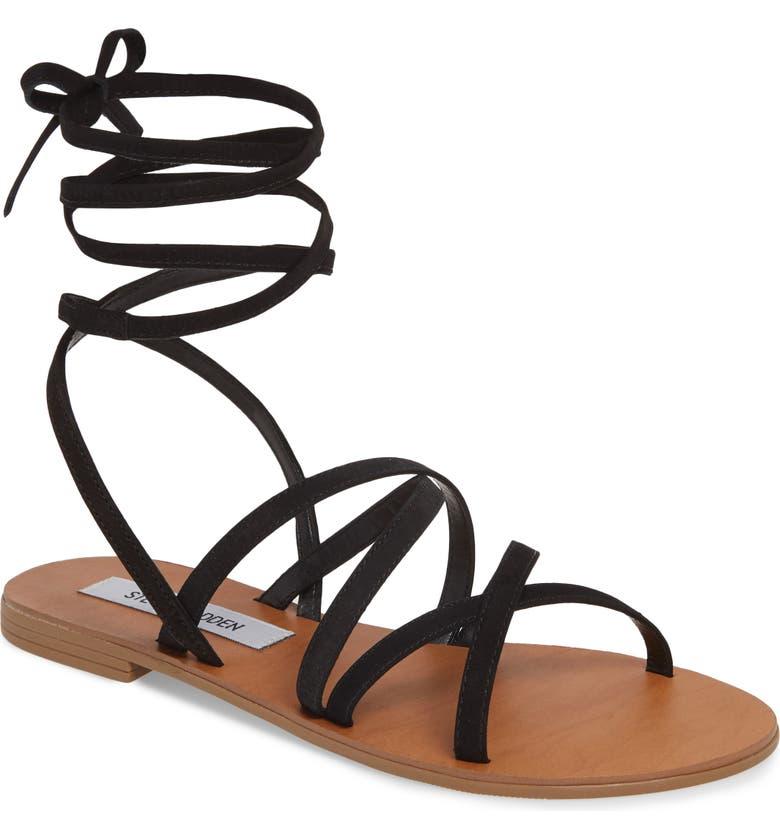 STEVE MADDEN Carmen Strappy Ankle Wrap Sandal, Main, color, BLACK NUBUCK