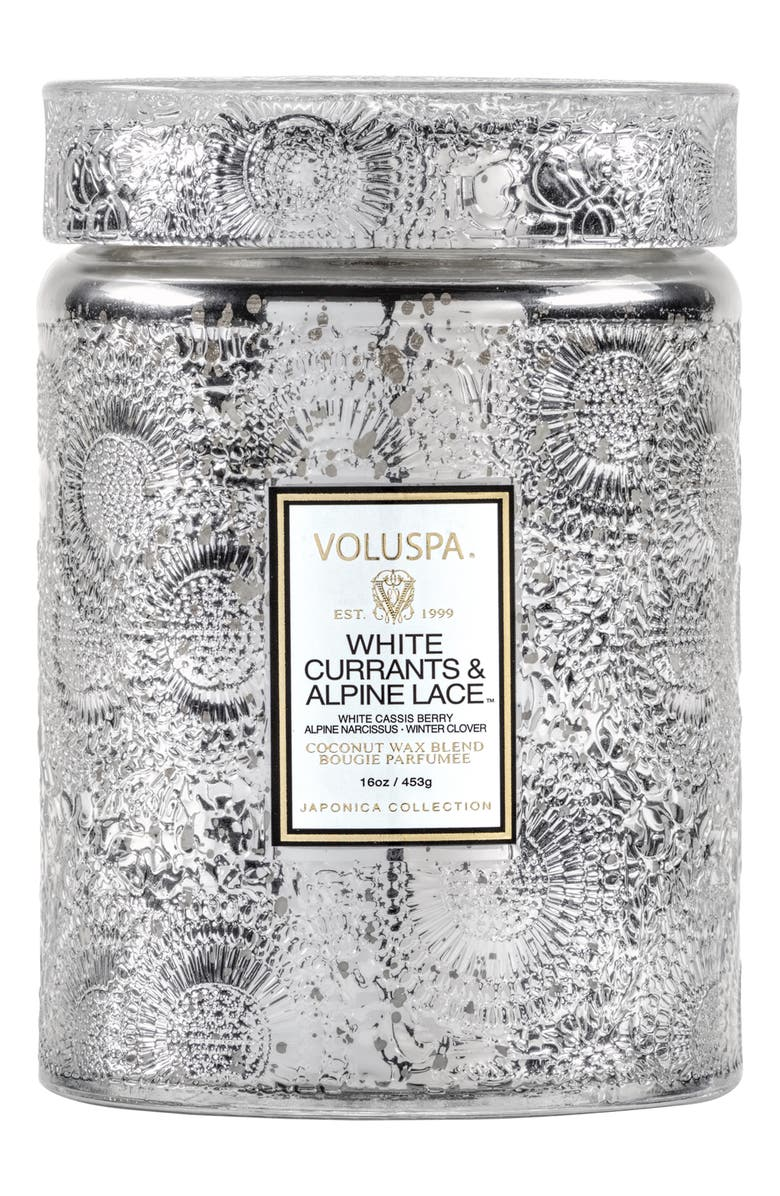 VOLUSPA Japonica White Currants & Alpine Lace Large Glass Jar Candle, Main, color, 000
