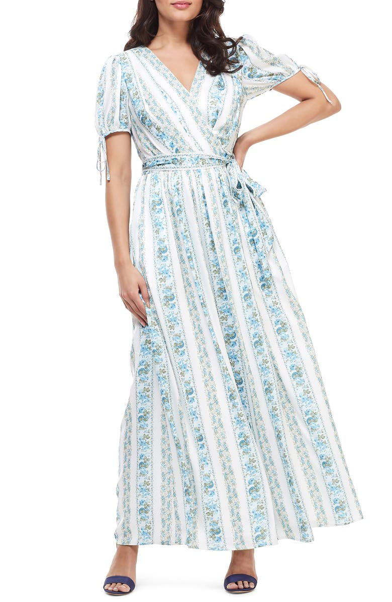 GAL MEETS GLAM COLLECTION Imogene Floral Stripe Wrap Maxi Dress, Main, color, IVORY/ FRENCH BLUE