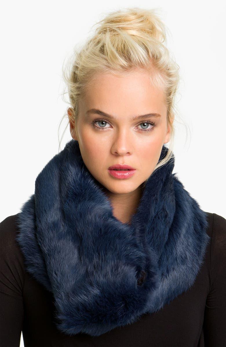 DIANE VON FURSTENBERG Genuine Rabbit Fur Infinity Scarf, Main, color, 400