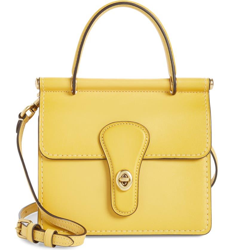 COACH The Coach Originals Willis Leather Top Handle Bag, Main, color, SUNLIGHT