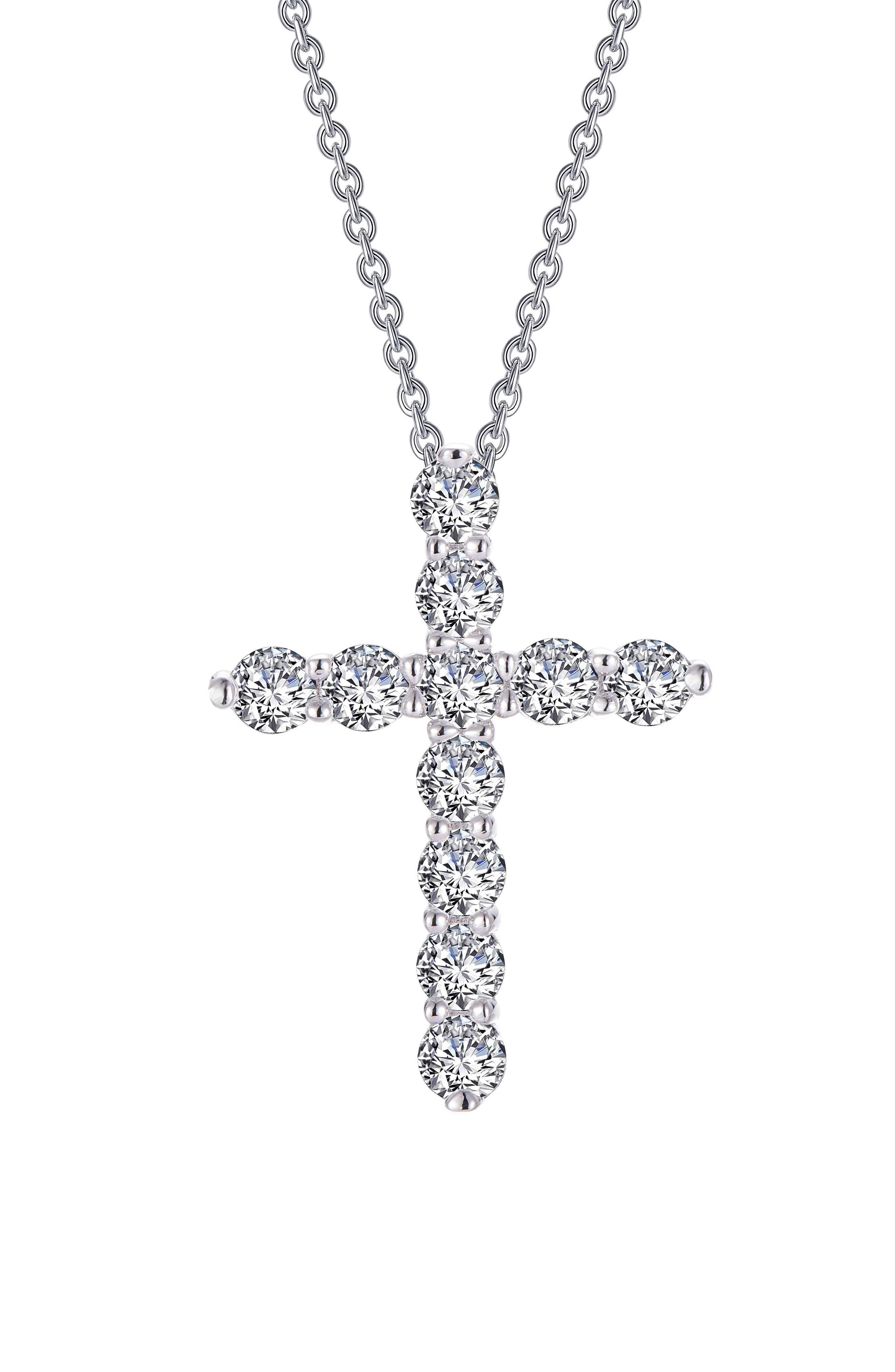 Simulated Diamond Cross Pendant Necklace