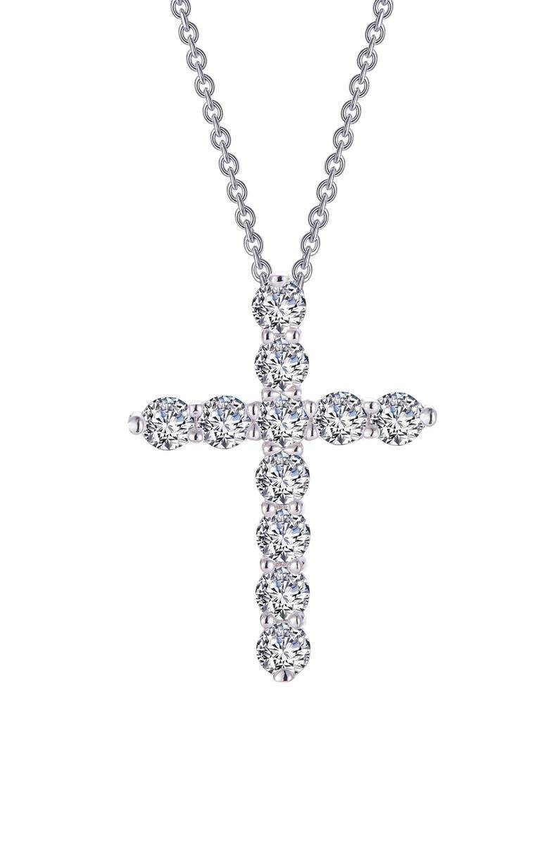 LAFONN Simulated Diamond Cross Pendant Necklace, Main, color, 040